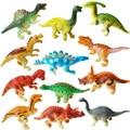 12 PCS Misturado Tamanho Pequeno Dinossauro Jurassic Park dinossauro mundo PVC Modelo de Simulação brinquedos
