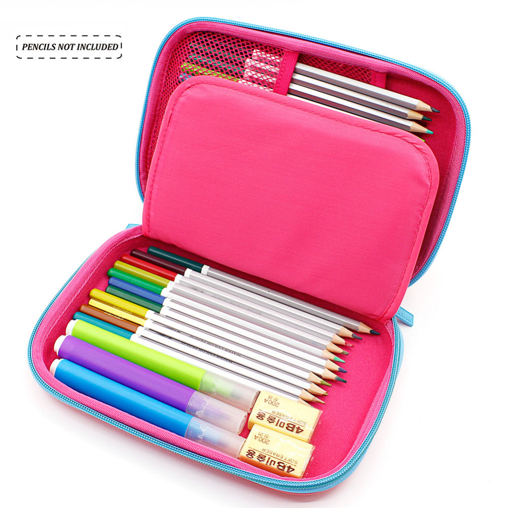 EVA Large Capacity Pencil Case Cute Cartoon Animal Pencil Bag Cases for Girl Stationery Fox Pen Bag Estojo Escolar School Supply large capacity zipper pencil case eva stationery pouch cute cartoon animal pencil case pen bag school stationery supplies