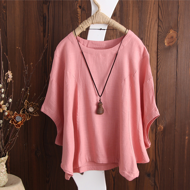 SCHMICKER 2018 Plus Size Short Batwing Sleeve Party Blouse Summer Women Casual Solid O Neck Cotton Linen Baggy Basic Tee-Shirts 4