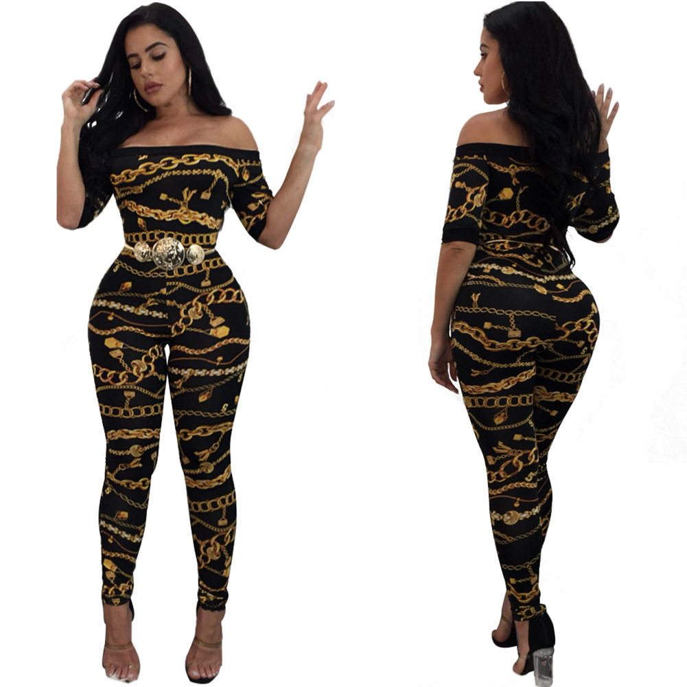 86737289e5cb Hot sale women jumpsuit romper Off shoulder Sexy tight fitting iron chain  printed jumpsuit bodysuit Flat Shouder casual jumpsuit-in Jumpsuits from  Women s ...