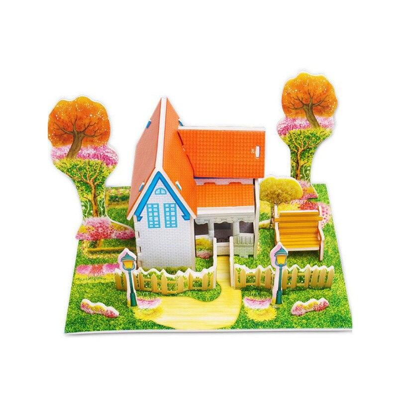 Бумага паззлами раннего обучения Строительная сборка детей украшения дома английские детские игры раннее образование игрушки - Цвет: YJL80928766D