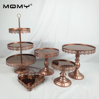 mirror cake stand set silver & gold & white & red brown color display sweet cake decoration