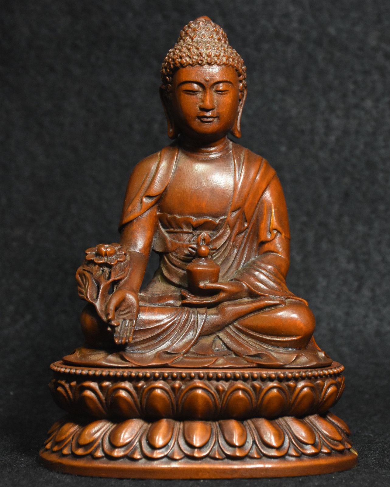 Bouddhisme chinois bouddhisme buis bois dieu médical Menla médecine bouddha Statue