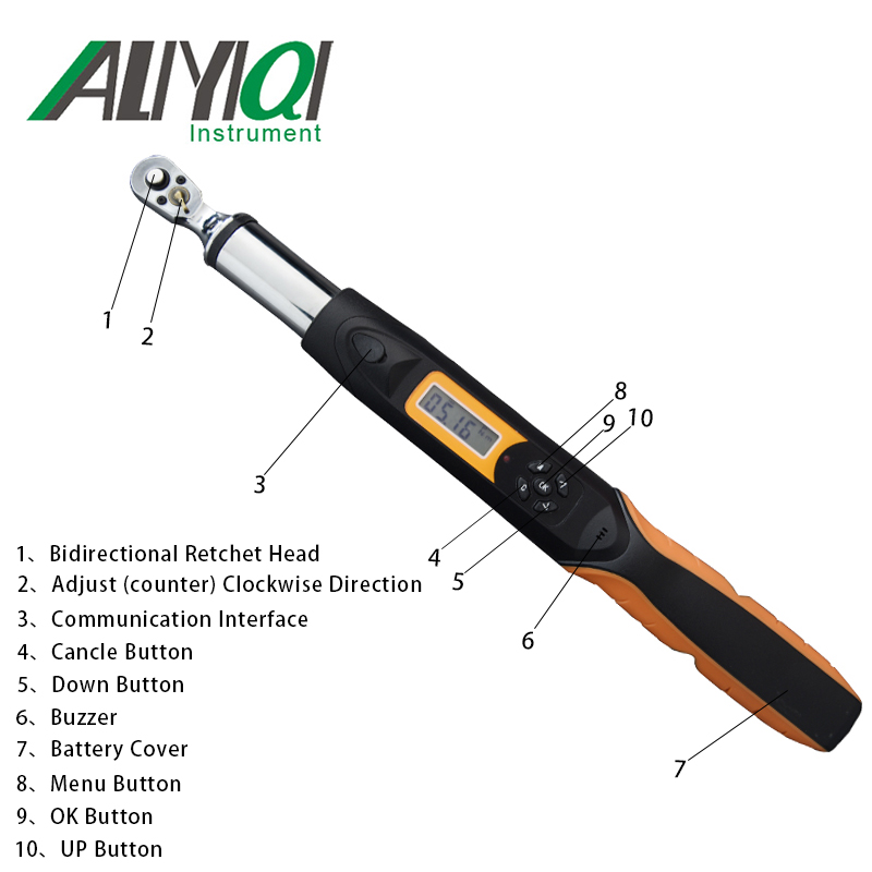 Aliyiqi 340N.m 1/2 Digital Torque Wrench AWG4 340Bidirectional ratchet head 36 teeth high accuracy 2% top quality tools