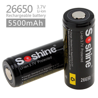 2Pcs Set Soshine 26650 Battery 5500mAh 3 7V Protected Rechargeable Li Ion Batteries Cell PCB 26650