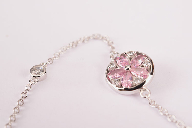 Silver Cherry Blossom Bracelet With Zircon Sakura Bangle Women 925 Sterling Jewelry 5