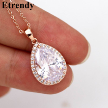 все цены на Luxury Water Drop Pendant Necklace For Women Fashion Cubic Zirconia Choker Collares Party Wedding Jewelry Bijoux Femme онлайн