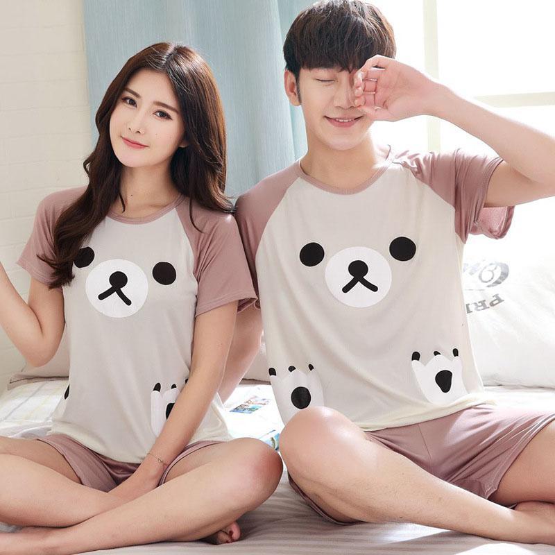 MISSKY Men Women Summer Pajama Set Cartoon Printing Fashion Casual Home Wear Set Female Lovers Sleep Wear