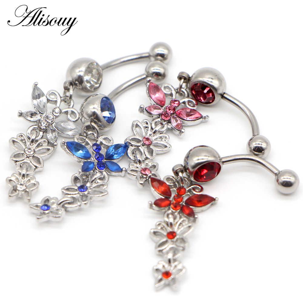 Alisouy 1PC kolczyki do pępka ze stali nierdzewnej kryształ motyl do pępka pierścienie Piercing Ombligo Piercing Nombril biżuteria do ciała