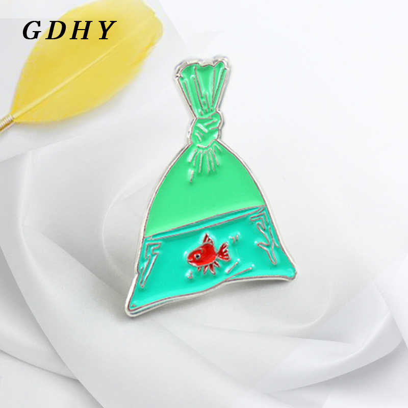 GDHY Pins Green Goldfish Fish Bag Brooch Red Goldfis And Green Bag Enamel  Pins Backpack T-shirt For Kids Women Badge