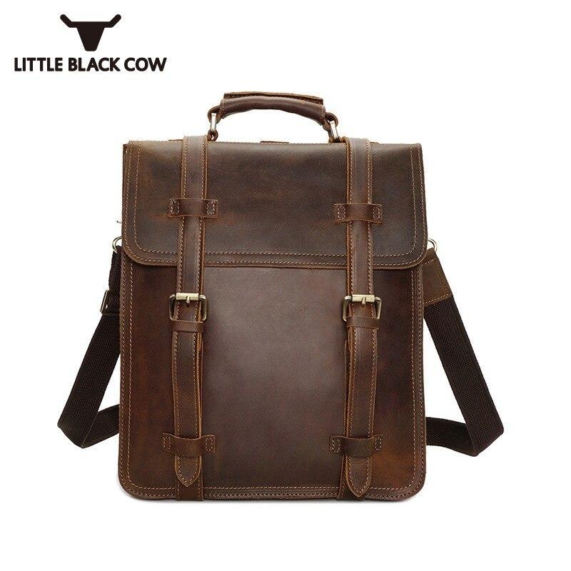 Винтаж Для мужчин рюкзак из натуральной кожи роскошные Колледж Школьная Сумка Дизайнерские коричневые Бизнес путешествия рюкзак для ноутб