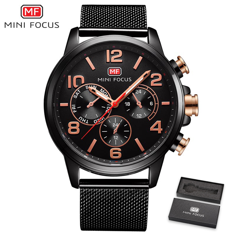 2018 MINI FOCUS Top Brand Luxury Men Fashion Quartz Watch Genuine Leather Strap 6 Hand 3 dial Ultra Thin Mans Sports whatch+ Box