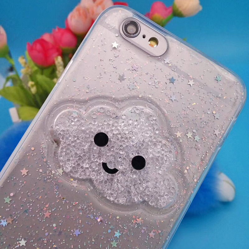 Cute Glitter Powder Smile Face Clouds Mobile Phone Case For iPhone X Soft TPU Dynamic Beads Back Cover For iphone 6 6s 7 8 Plus Case (13)