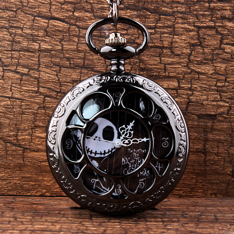 Jack Skellington Nightmare Before Christmas Quartz Pocket Watch Vintage Hollow Necklace Steampunk Watch Women Men Tim Burton