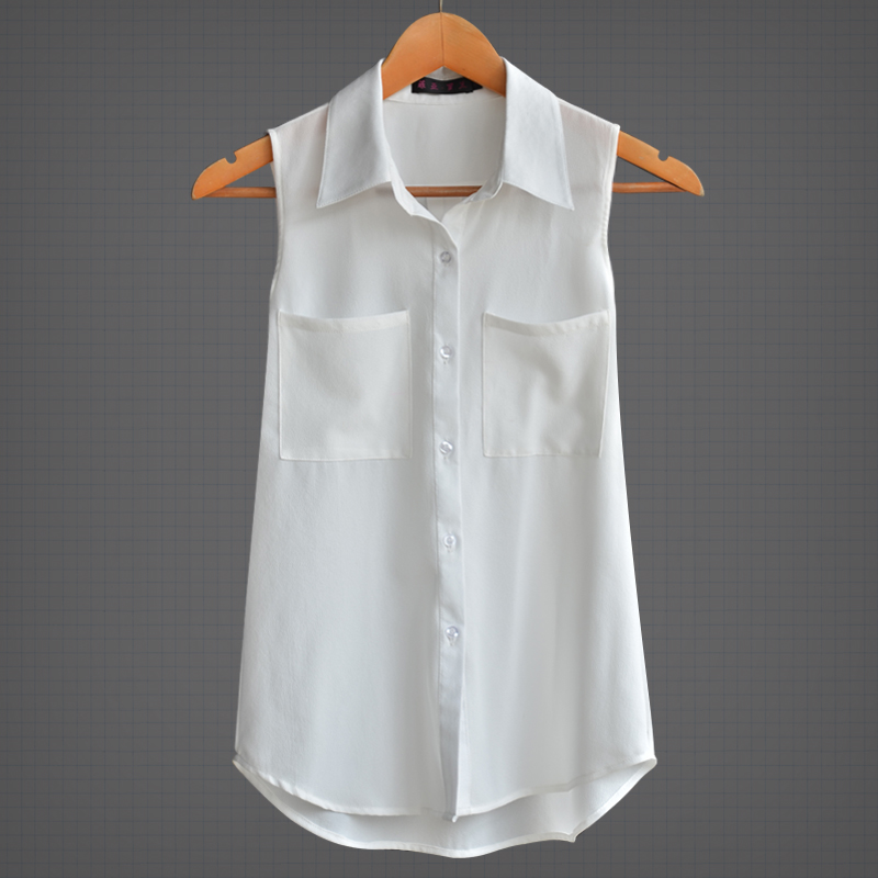 Popular White Sleeveless Blouse with Collar-Buy Cheap White ...