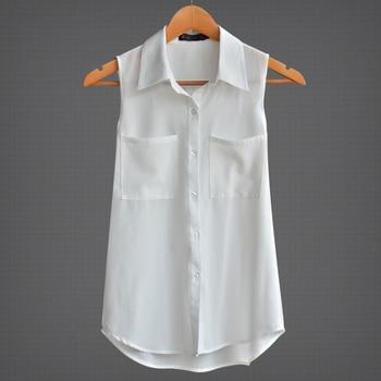 bccc59f3356 2019 Свободные Тонкий с отложным воротником без рукавов шифоновые Блузы OL  белые топы femme летние женские блузки