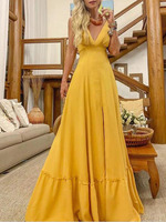 2019 New Style Fashion Elegant Women Sexy Boat Neck Deep V Neck solid Party Dress Formal Long Dress Sexy Clubwear red/yellow