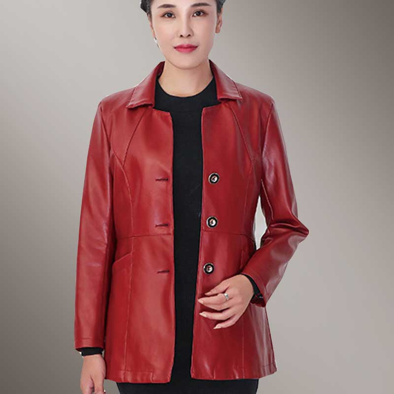 Autumn Women Wear Plus size PU   Leather   Jacket 2018 New Fashion Lapel Black Windbreaker Long   Leather   Jacket Mother Masks Parka