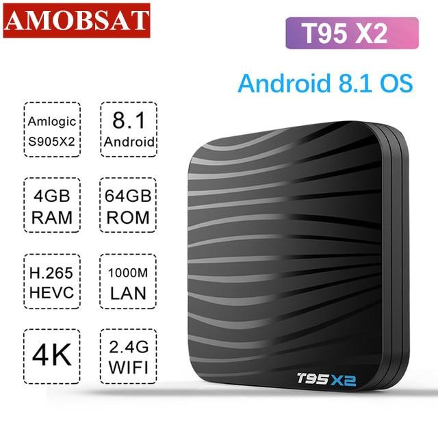 Android 8.1 Smart TV Box 4GB 64GB Amlogic S905X2 Quad Core T95X2 Dual Wifi 100M H.265 4K UHD 3D 60pfs USB3.0 Google Play T95 X2Android 8.1 Smart TV Box 4GB 64GB Amlogic S905X2 Quad Core T95X2 Dual Wifi 100M H.265 4K UHD 3D 60pfs USB3.0 Google Play T95 X2