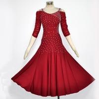 Cheap Modern Dance Dresses For Ladies Blue Black Red Fabric Dresses Standard Professional Women Feminine Ballroom Costume N4013