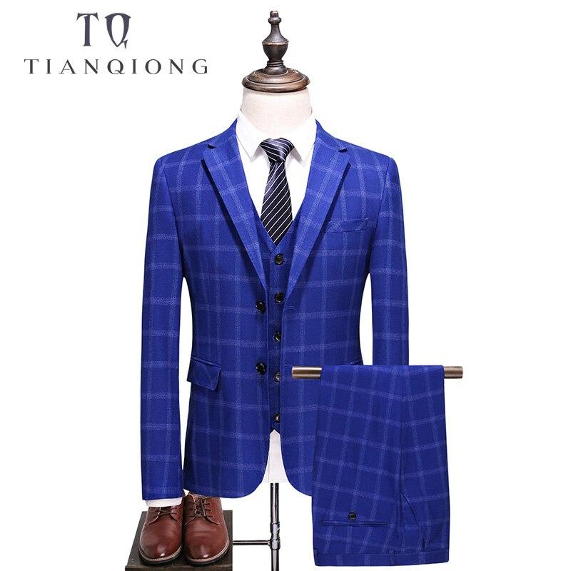 Тянь QIONG Для мужчин s Королевский синий Клетчатый костюм 2018 Slim Fit Нарядные Костюмы для свадьбы для Для мужчин высокое качество Бизнес костюмы