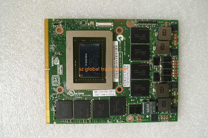 FOR <font><b>M17X</b></font> R3 M18X <font><b>R1</b></font> GTX 580M GTX580 N12E-GTX2-A1 video graphic card 2GB DDR5 MXM 3.0 Laptop Video Card 3MF8R image