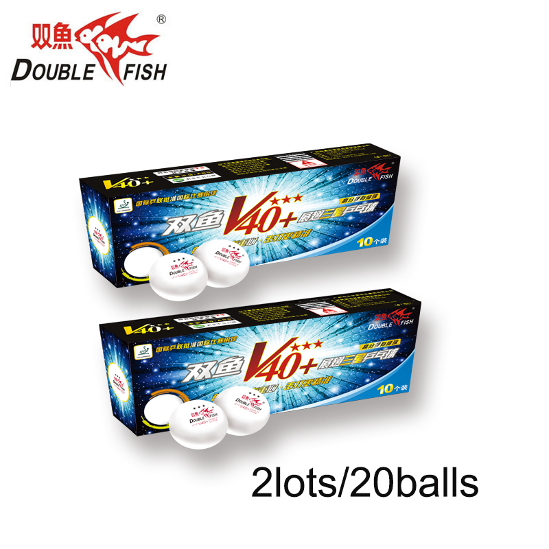 Original 2packs/20balls DOUBLE FISH Volant V40+ 3 Stars Table Tennis Balls ABS Ping pong Ball ITTF Approved COMPETITION Ball ...