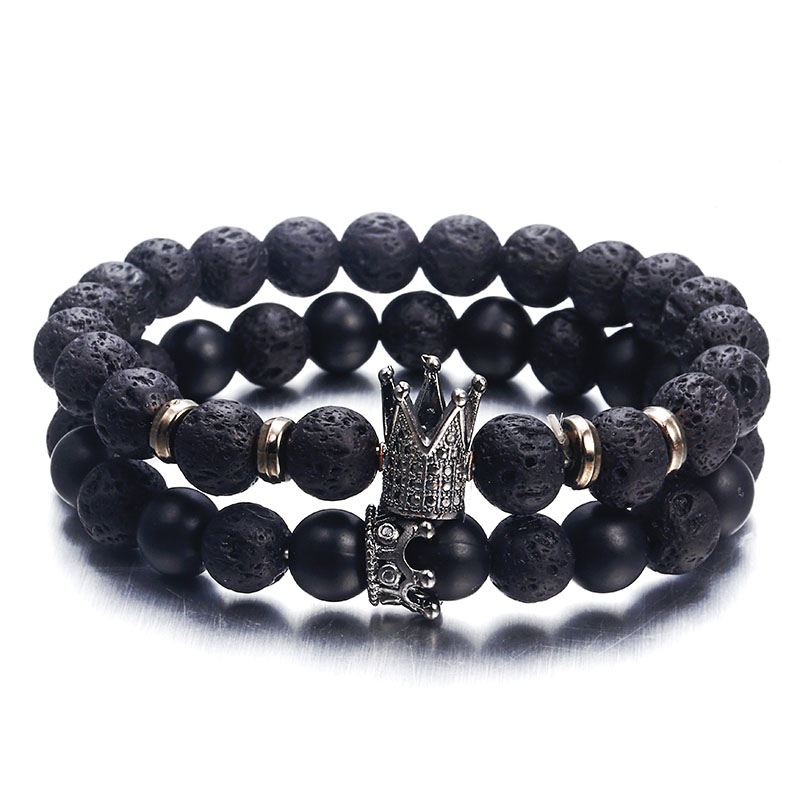 NS63 Hot Trendy Lava Stone Pave CZ Imperial Crown And Helmet Charm Bracelet For Men Or Women Bracelet Jewelry Pulseira Hombres