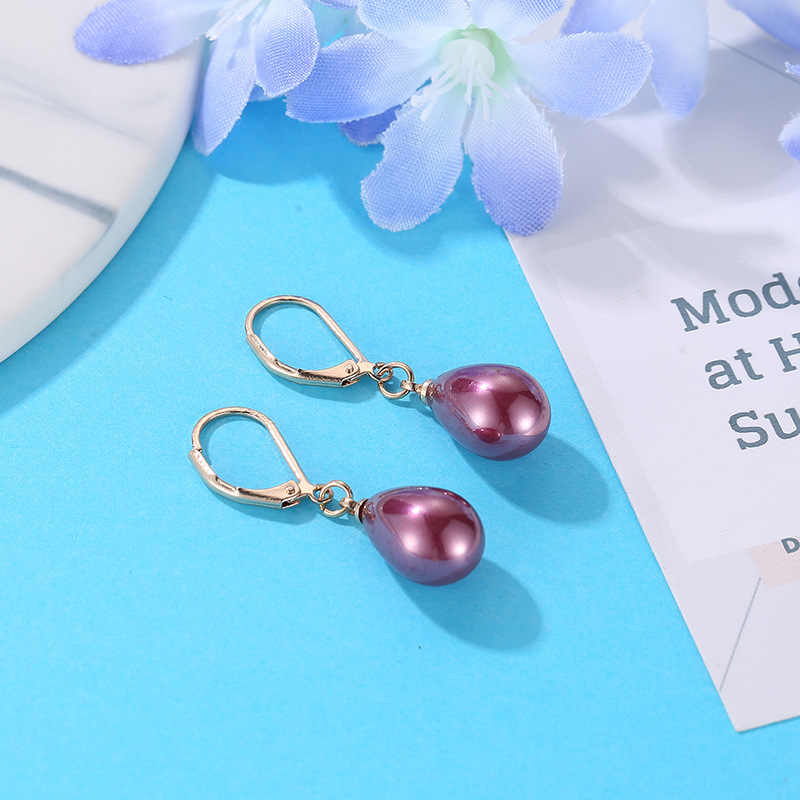 Simple Style Simulated Pearls Drop-Shaped Sweet Pink Claret Black White Gray Elegant Drop Earrings Dangle Earrings For Women