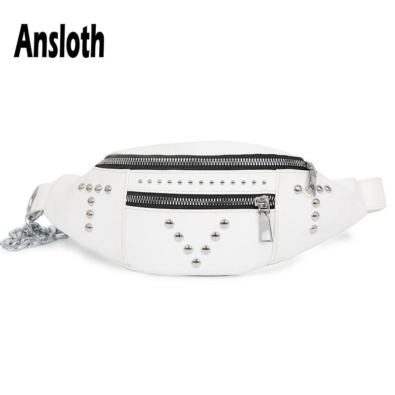 Ansloth 2019 Fashion Rivet Waist Bag For Women Casual Banana Bag Ladies PU Leather Belt Bag Female Fanny Pack Chest Bag HPS525