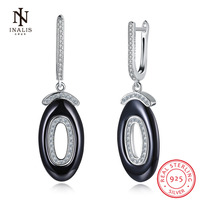 INALIS Fashion Double Circle 925 Sterling Silver Earrings White Color Black Color Ceramics Stud Earrings For