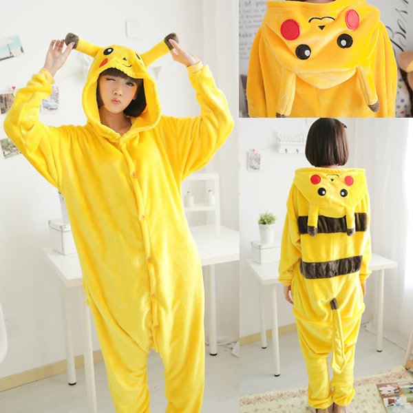 NEW Adult Women Pikachu Onesies Men Pokemon Cosplay Pajamas Pyjama Winter Flannel Sleepwear Jumpsuit Christmas Cosplay Costume