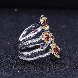 Image 3 - GEMS BALLET 925 Sterling Silver Handmade Ring 0.96Ct Natural Rhodolite Garnet Plum Blossom Flower Rings for Women Fine Jewelry