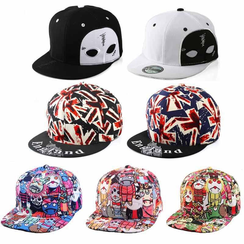 2017 New Men Women Tennis Caps Hip hop Horrible Zombie Printed White Face Black Eyes Cotton Adjustable Hats