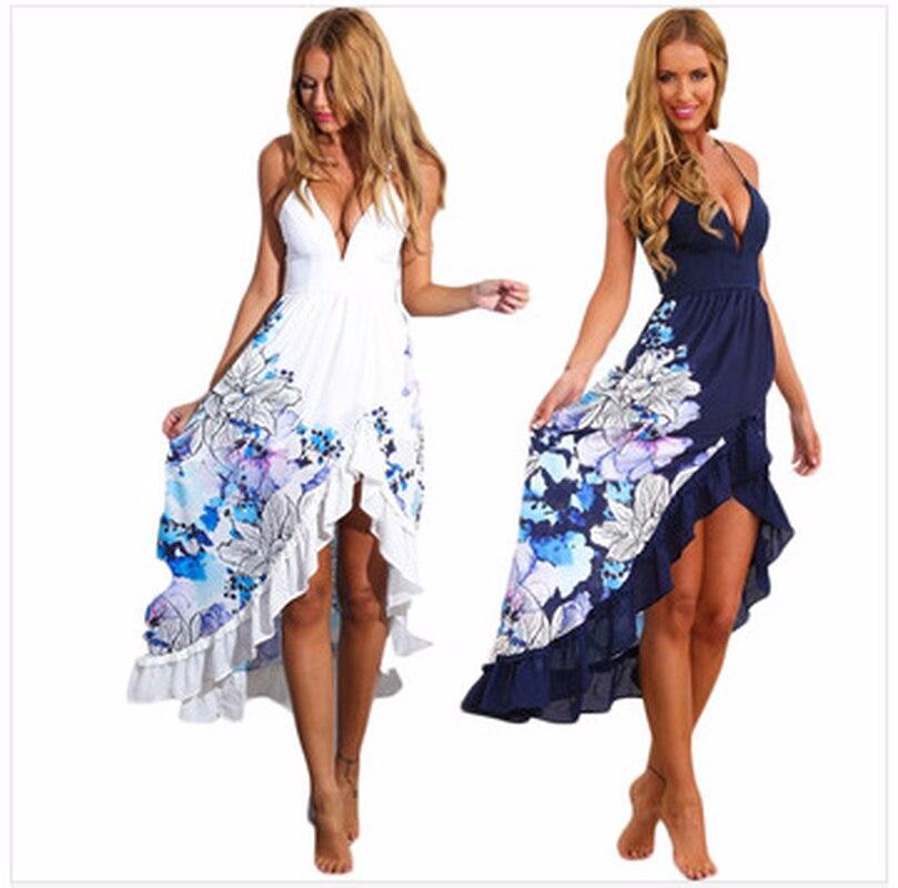 2018 Sexy Casual Strap Summer Dress Long Boho Beach Women Sundress Vestidos Elegant Daily Drape Frilled Desses Female