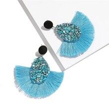 Vintage Colorful Crystal Tassel Drop Earrings For Women Charm Fan Shape Female Fringe Bohemian Earring Jewelry Boho charm fringe design drop earrings