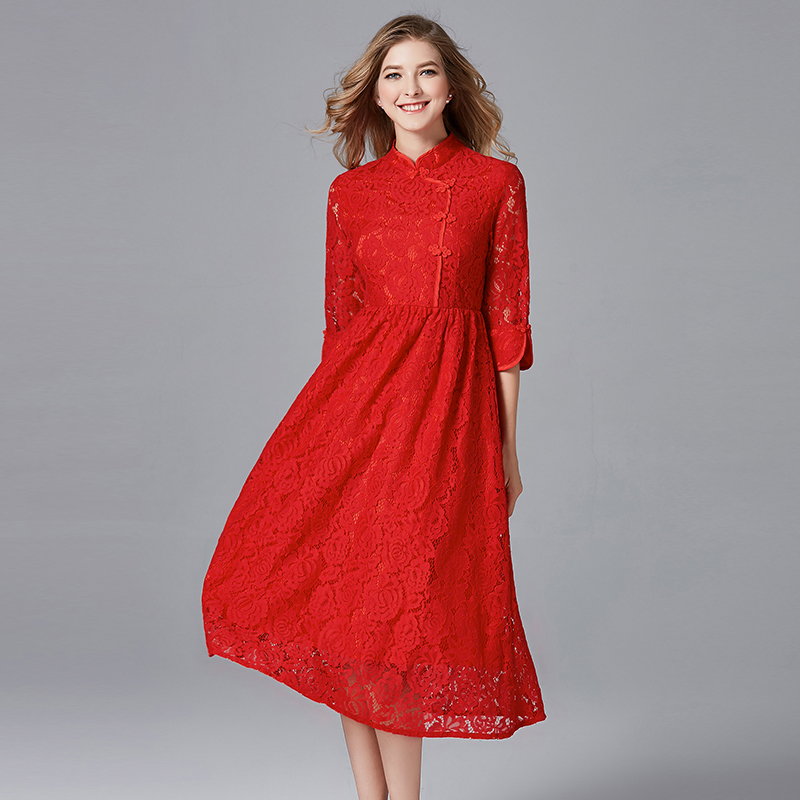 2019 Chinese cheongsam design women red lace dresses party plus size spring autumn women pleated A line lace dress