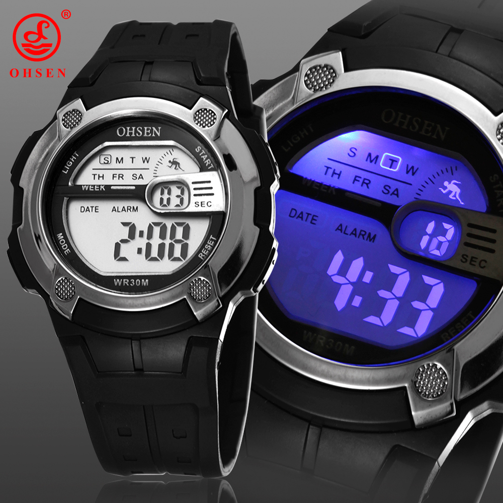 New OHSEN Digital Mens Boys Sports Watches Alarm Date Day Chronograph 7 Colors LED Back Light
