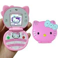 Hello kitty флип Прекрасный милый мини мобильный телефон с мультяшками для детей обувь девочек Low Radiation Bluetooth вибрации Whatsapp одной сим