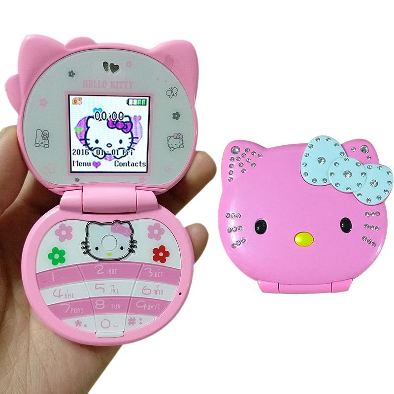 KUH T99 Flip Lovely Cute Mini Hello Kitty Cartoon Mobile Phone For Kids Girls Low Radiation Bluetooth Dialer Vibration Whatsapp