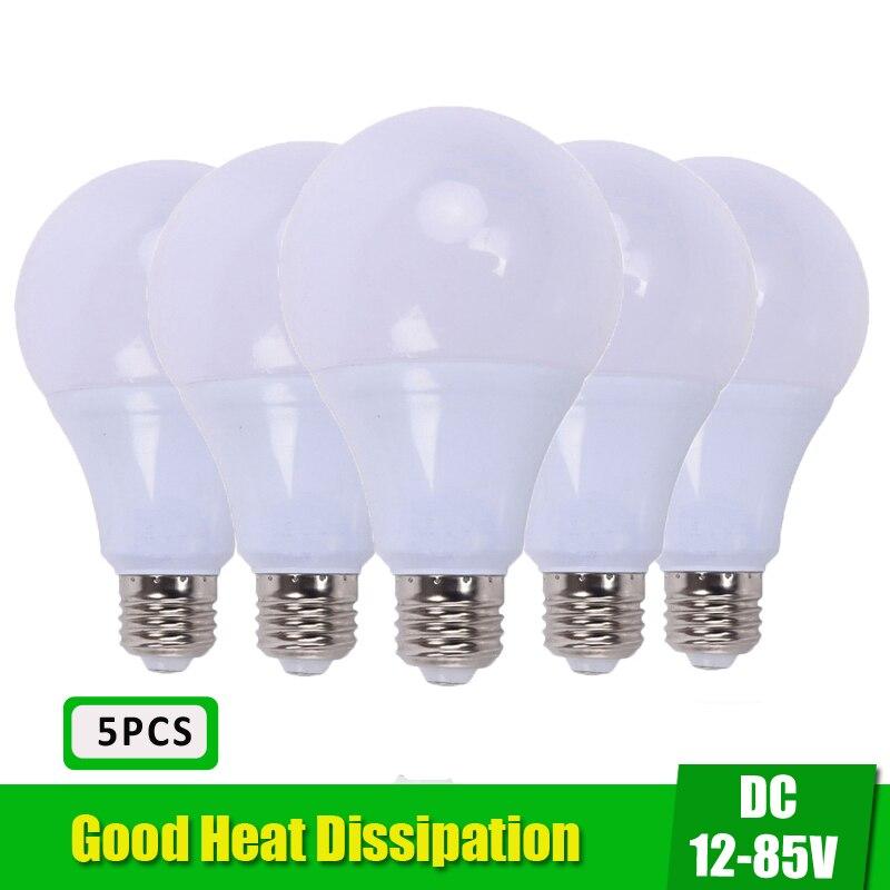 E27 Led Bulb 12-85V LED Lamp 3W 5W 9W 12W 15W DC12 DC24 DC36 Volts Lampada Led E27 Locomotive Solar Home Bulb DC12V Cold White