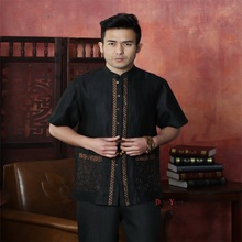 High Quality Black Chinese Men's Kung Fu Tops Shirt Short Sleeve With Pocket Tradition Tang Suit Size M L XL XXL XXXL 4XL