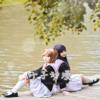 Japan Anime Cardcaptor Sakura Daidouji Tomoyo/Kinomoto Sakura Girl School Uniform Cosplay Costume Shirt+ Skirt+ Tie+ Hat