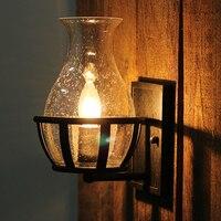Vintage bubble glass vase shape E14 bulb wall sconce lamp home deco retro bedroom bedside black iron wall light fixture