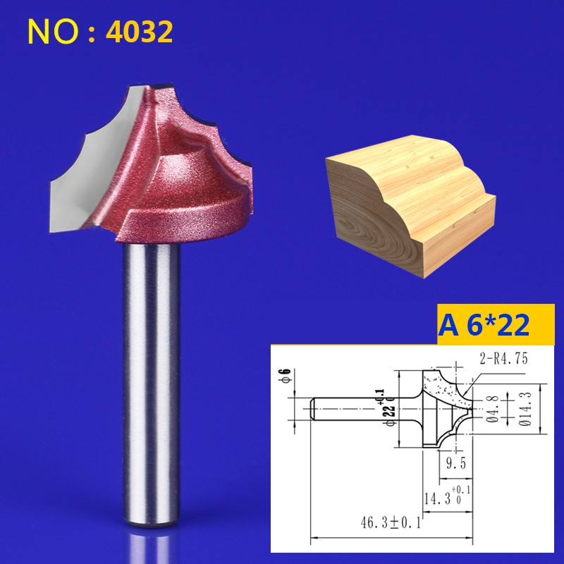 1pcs 6*22mm Chest/Door wood flat edge trimmer milling cutter engraving machine tool slotting Lace knife NO:4032 1pcs 6 16mm chest door engraving machine milling knife wood cutter router bit knives 3d lace woodworking milling cutter no 4046