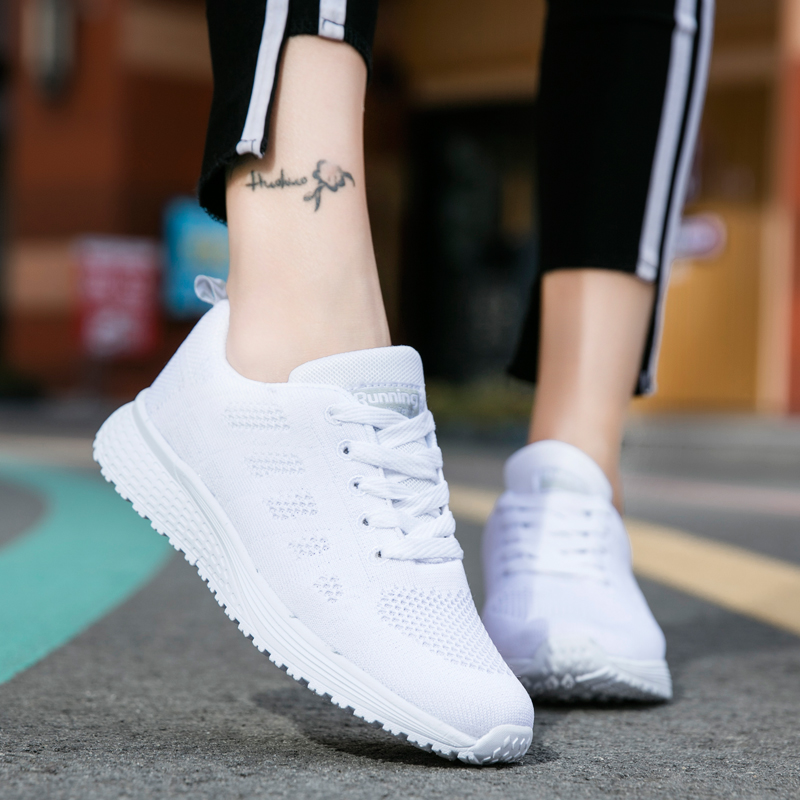 POLALI Women's Sport Shoes Female Brand Sneakers Woman Running Shoes Breathable Antislip Light Flats