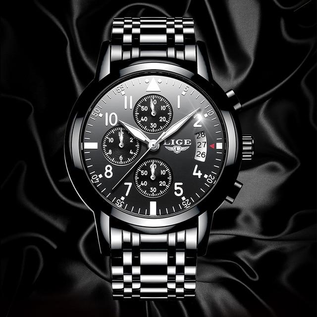 Фото lige 2020 мужские часы лучший бренд класса люкс модные деловые цена