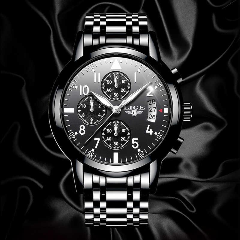 LIGE męskie zegarki Top marka luksusowa moda biznes kwarcowy zegarek mężczyźni Sport cały stalowy wodoodporny czarny zegarek erkek kol saati + Box