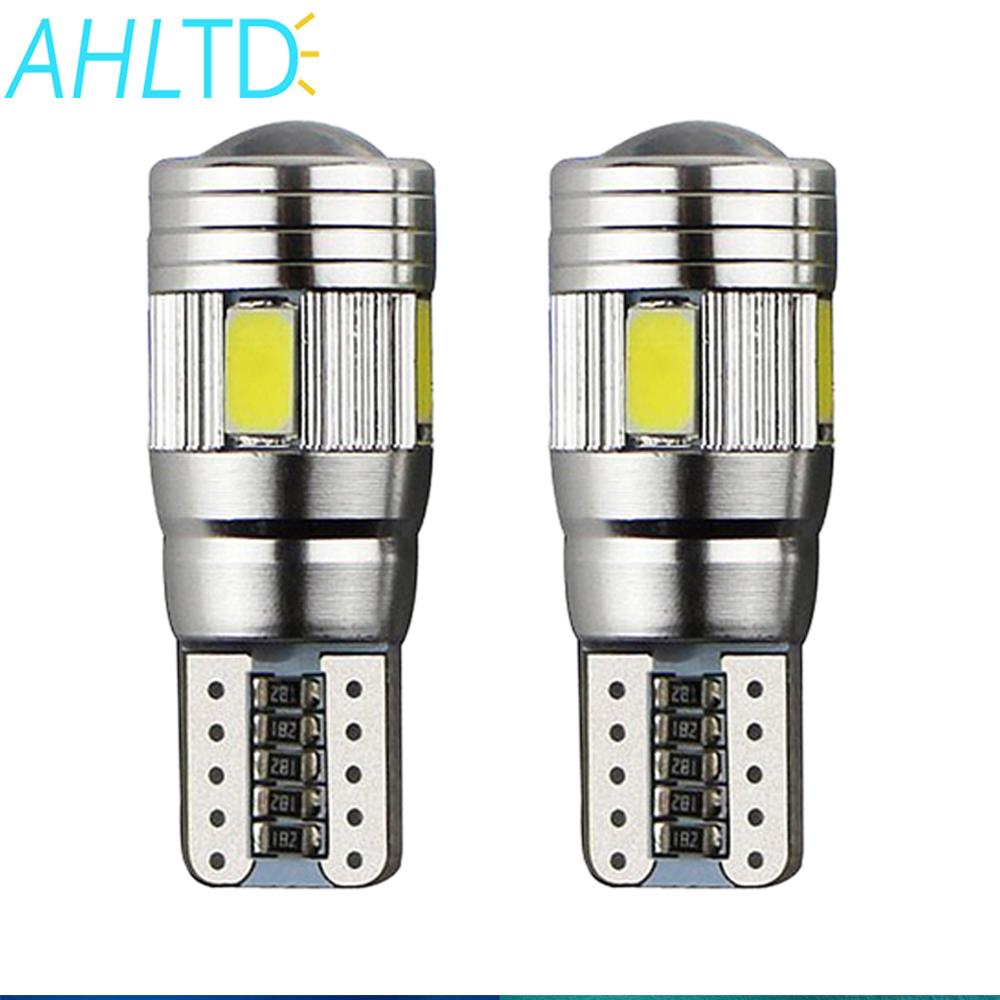 2Pcs T10 W5W Interior Xenon White Blue Red LED CANBUS 6SMD 5630 Lens Projector Solid Aluminum Bulbs Side Marker Parking Light in Signal Lamp from Automobiles Motorcycles