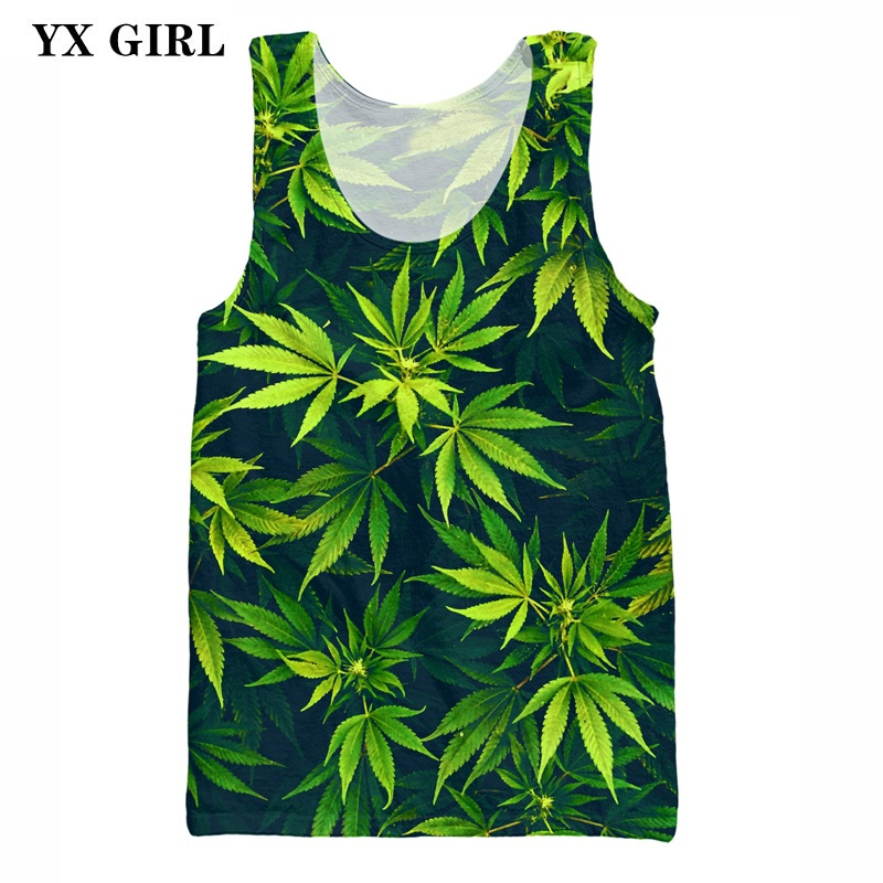 3D Printing Summer Tree Vest Women/Men Hemp Leaf Pattern   Tank     Tops   Casual Vest Unisex Sleeveless O-neck Polyester Vest